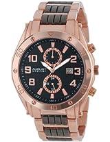 August Steiner Men's AS8070RG Swiss Multi-Function Black Dial Rose-Tone and Black Bracelet Watch