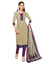 SGC Cream Cotton Printed Unstitched Churidar Kameez - (SGS- 225)