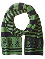 Psycho Bunny Men's Dundee Tubular Knitted Stripe Scarf, Navy/Apple, One Size