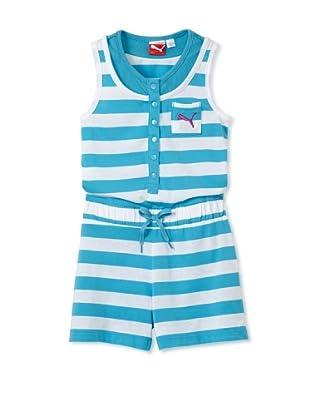 PUMA Girl's 7-16 Striped Romper (Blue)