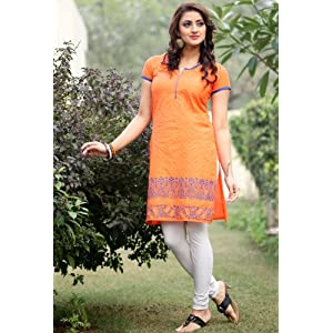 Noor Orange Cotton Women - Kurti