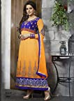 The Aamna Sharif Light Orange and Blue Designer Anarkali Suit