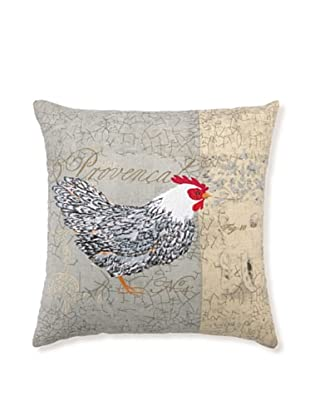 """Kathryn White Rooster Provencal I Pillow, 18"""" x 18"""""""