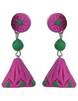 Nidarsha - Violet and Green Polymer Clay Long jhumka