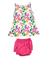 Ssmitn Baby Wear Polka Dot Printed Pink Frock With Bloomer For Girls