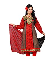 Cenizas Women Chiffon Dress Material Dress Material (Fshn559 _Red _Free Size)