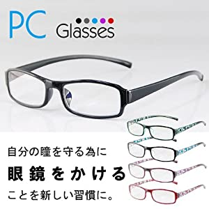 PCメガネ ブルーライトメガネ スクエアブラック ブルーライト メガネ 青色光  カット 低減 パソコンやゲーム用に是非画像