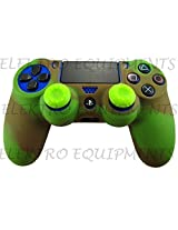 Sony PS4 Controller High Quality Protective Silicone Case Army Green with 2 Green Silicone Thumb Grips