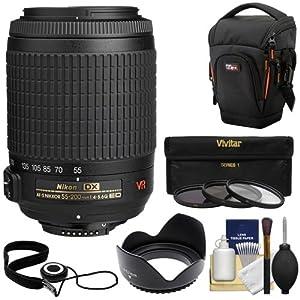 Nikon 55-200mm f/4-5.6G ED IF AF-S DX VR Zoom Lens with Holster Case + 3 UV/CPL/ND8 Filters + Hood Kit for D3100, D3200, D3300, D5100, D5200, D5300, D7000, D7100 DSLR Cameras