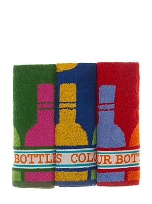 La Bruja Paño de cocina Botellas Set 3 (Multicolor)