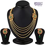 Sukkhi Pleasing Five String Gold Plated Emerald Studded Necklace Set [Jewellery]
