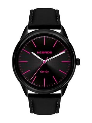 K&BROS 9486-1 / Reloj de Caballero  con correa de piel Negro