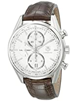 TAG Heuer Men's CAR2111.FC6291 Carrera Silver Dial Leather Strap Chronograph Watch