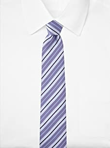 Aquascutum Men's Multi-Stripe Silk Tie (Light Purple/Navy)