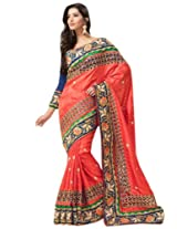 Triveni Captivating Floral Embroidered Wedding Saree 2717