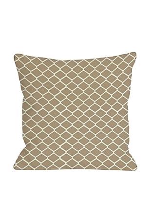 One Bella Casa Fence 18x18 Outdoor Throw Pillow (Tan)