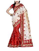 Rajlaxmi Women's Bhagalpuri Silk Saree (Red)