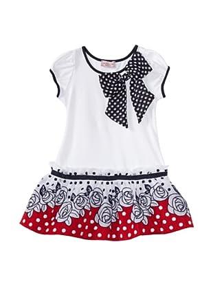 Monnalisa Girl's Floral Dot Dress (White)
