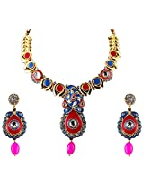 Vivanta Multi-Coloured Gold Plated Necklace And Earrings Set For Women (VD-N104)