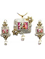Shingar Ksvk Jewels Polki Kundan Cubic Zirconia Temple Pendant Set For Women (9481-dck-temple-ps)