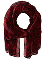 RAMPAGE Women's Aztec Light Weight Oblong Scarves, Red, One Size