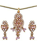 16.20 Grams Pink & White Cubic Zircon Gold Plated Pendant Set