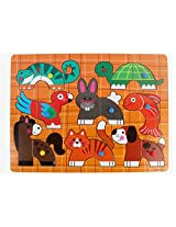 PIGLOO Wooden Knob Animal Theme Peg Puzzle, For Ages 3+ Years