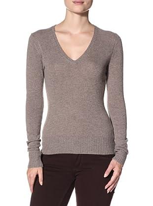 Cashmere Addiction Women's Long Sleeve V-Neck Sweater (Fur)