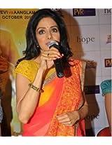Sridevi Style Orange And Yellow Saree At English Vinglish Promotions