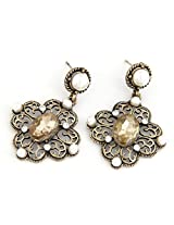Cinderella Collection by Shining Diva Silver & Brown Crystal Hanging Earrings for Women 6914er
