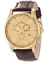 Lucien Piccard Men's 11567-YG-010 Adamello Chronograph Gold Textured Dial Brown Leather Watch