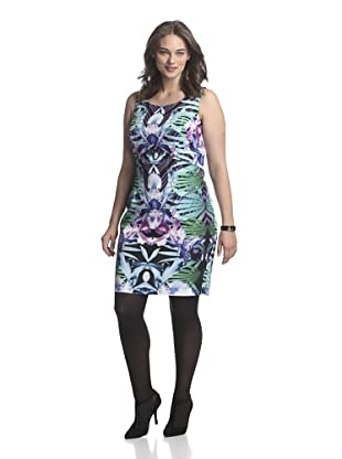 Single Plus Women's Mirror Print Dress (Green)