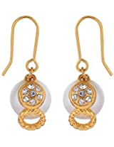 Estelle Summer Collection Gold plated Alloy Metal Earring in Drop look with pearls N CZs for women
