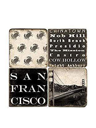 Studio Vertu Set of 4 Black & White San Francisco Tumbled Marble Coasters with Stand