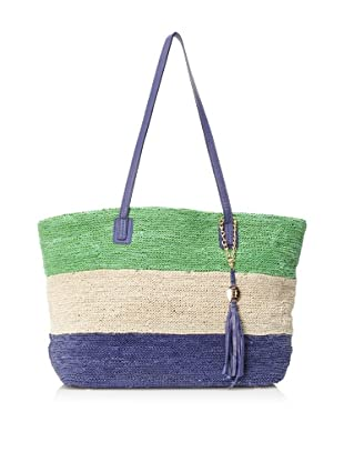 OH by Joy Gryson Women's Colombier Knit Leather Tote Bag (Buttercream/Grass/Cobalt)