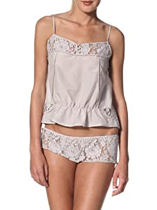 Samantha Chang Women's Piped Cami with Lace (Oyster/Oyster Lace)