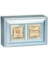My Joy Daughter Cottage Garden Metallic Blue Jewelry Music Box - Plays Tune Thats What Friends Are F