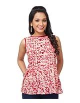 Enah Women's Cotton Pink Batik Peplum Top X-Large (132 / Top / Pink-X-Large)
