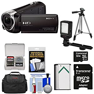 Sony Handycam HDR-CX240 1080p Full HD Video Camera Camcorder (Black) with 32GB Card + Battery + Case + Video Light + Tripod + Kit