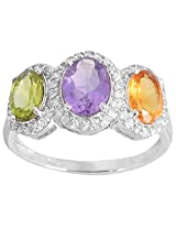 925 Sterling Silver & Natural Faceted Multi Amethyst ,Citrine ,Peridot GemstoneS Ring