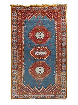 Semi Antique Afghan Rug, Red/Orange/Blue, 4' 6