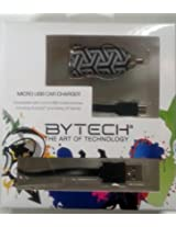 BYTECH Micro USB Car Charger for Android and Galaxy S Series Mobile Cell Phones in Black and Gray Design