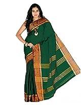 Paaneri Dark Green Colour With Red Borad Border Plain Blended Cotton Saree_15103501605