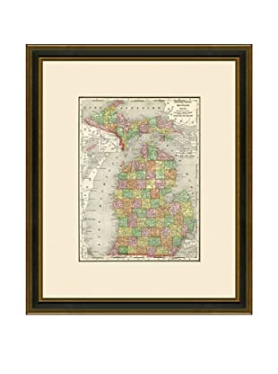 Antique Lithographic Map of Michigan, 1886-1899