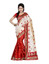 Janasya women's Red colour Brasso saree with attractive border work