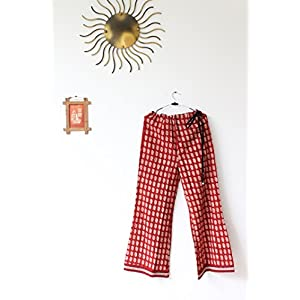 The Sewing Machine Red Straight Cotton Palazzo