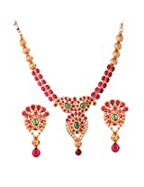 Ganapathy Gems 1 Gram Gold Plated Traditional South Indian Teple Jewellery Necklace Set.