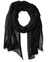 Betsey Johnson Women's Blue by Betsey Love Liquid Mesh Wrap Black Scarf One Size