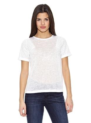 Springfield Camiseta T Bordado Hombros (Blanco)