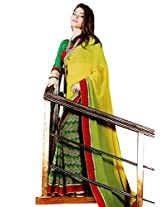 Riti Riwaz Yellow & Green saree with unstitched blouse SRA5011